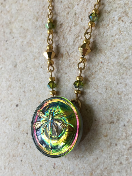 Peachy-Green Dragonfly Pendant Necklace