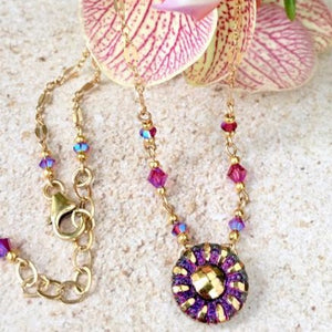 Minnie Series — Purply Pink Deco Flower Pendant Necklace