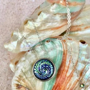Fabulous for layering! Turquoise Wave Pendant Necklace with Silver