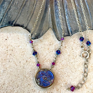 Super Layering Piece! Cobalt Purple Leaves Pendant Necklace with Silver