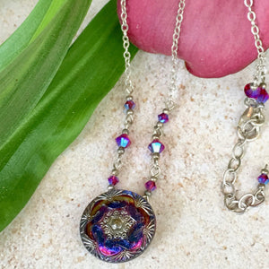 Cobalt Purple Swirl Pendant Necklace with Silver