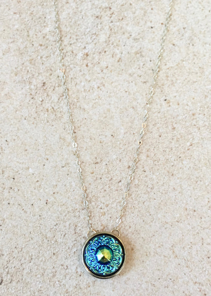 Fabulous for layering! Turquoise Victorian Pattern Pendant Necklace with Silver
