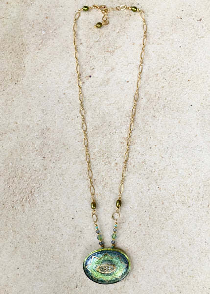 Greenish Blue Oval Pendant Necklace