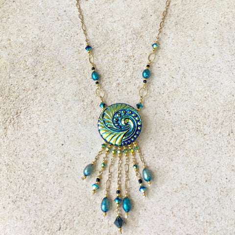 Turquoise Wave Pendant Necklace — Bolo Style