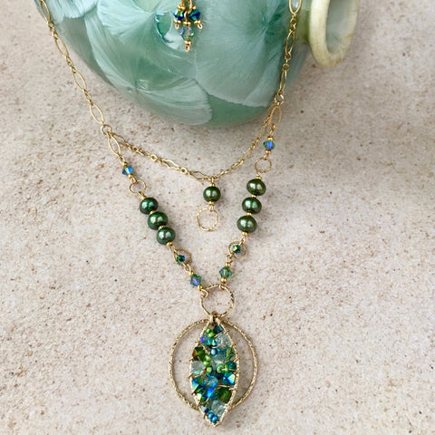 Belle Époque 2  — Turquoise & Sage — Bloom Collection Necklace