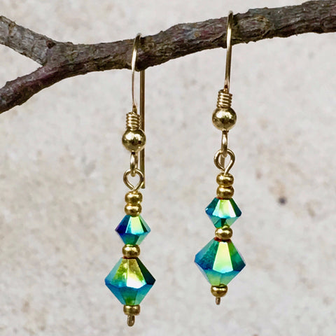 Sparkly Goodness — Turquoise Crystal Earrings