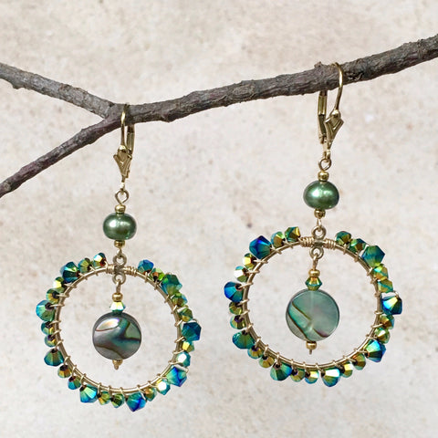 Bella M Earrings — Abalone, Crystals and Pearls, oh my!