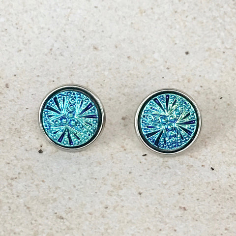 Cute As A Button #1 — Iridescent Turquoise Earrings