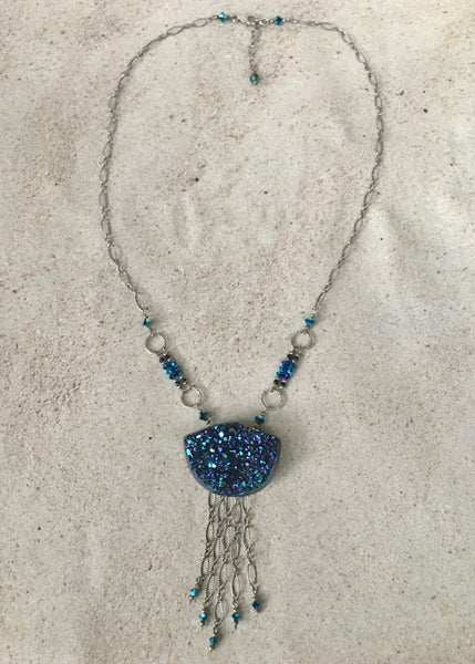 Beautiful Brazilian Agate Druzy Necklace