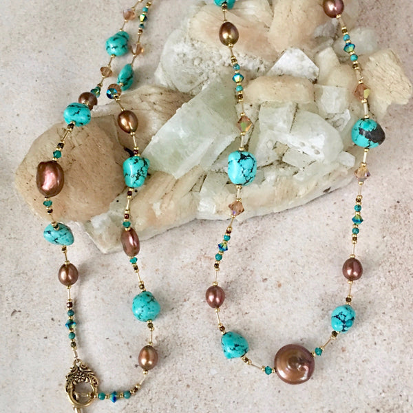 Natural Turquoise and Mocha Pearl Wraparound Necklace