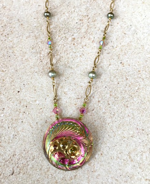 Pinky-Green Paisley Pendant Necklace