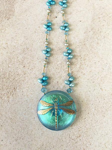 Turquoise Dragonfly Pendant Necklace
