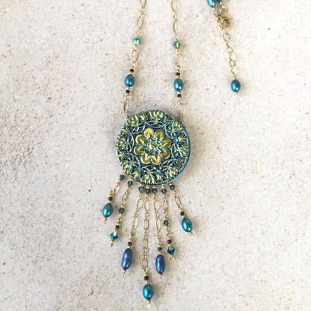 Turquoise Lace Pendant Necklace — Bolo Style