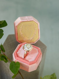 gold engraving deep tangy pink ring box