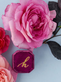 dark pink velvet custom monogram ring box