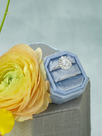 light blue bevel velvet ring box engraving top