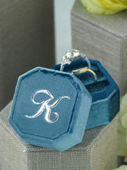 custom monogram velvet ring box gift