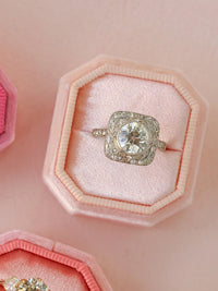 peach velvet bevel ring box gift ideA