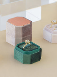 emerald bevel octagon velvet ring box