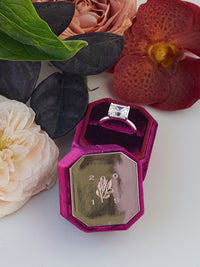 dark pink velvet ring box metal engraving top