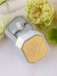 metal engraving top on sage green box