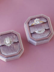 natural mauve velvet bevel ring box gift idea