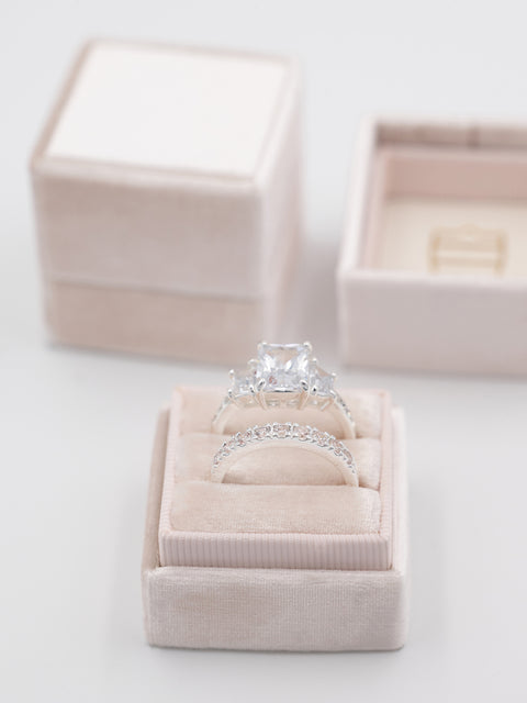 blush double wedding band and engagement ring box
