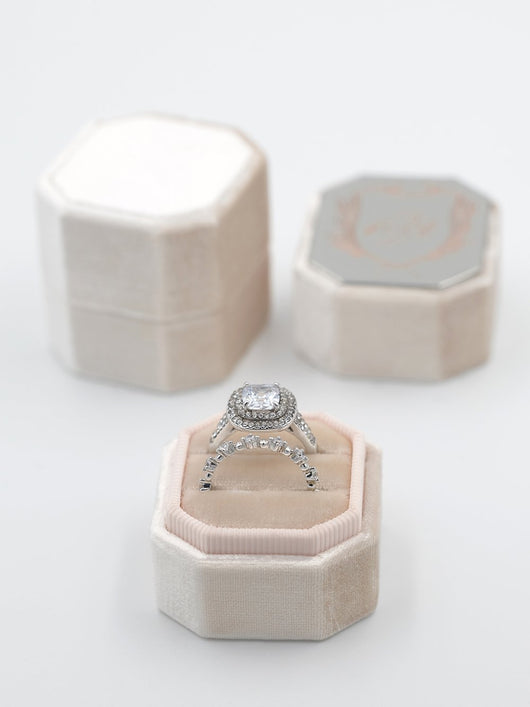 pale blush velvet octagon bevel ring box gift