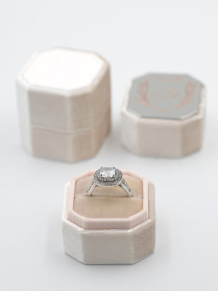 pale blush velvet octagon bevel ring box