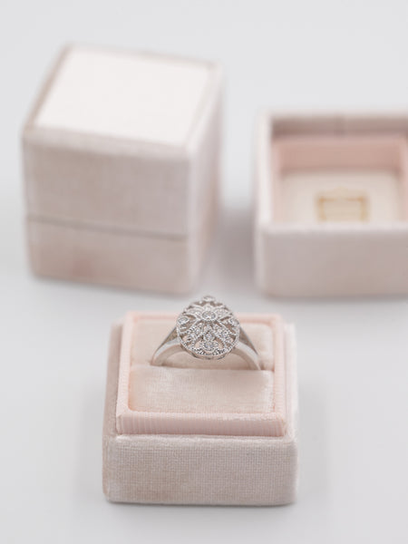 nude blush heirloom velvet ring box