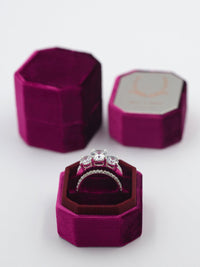 magenta berry velvet ring box metal engraving top