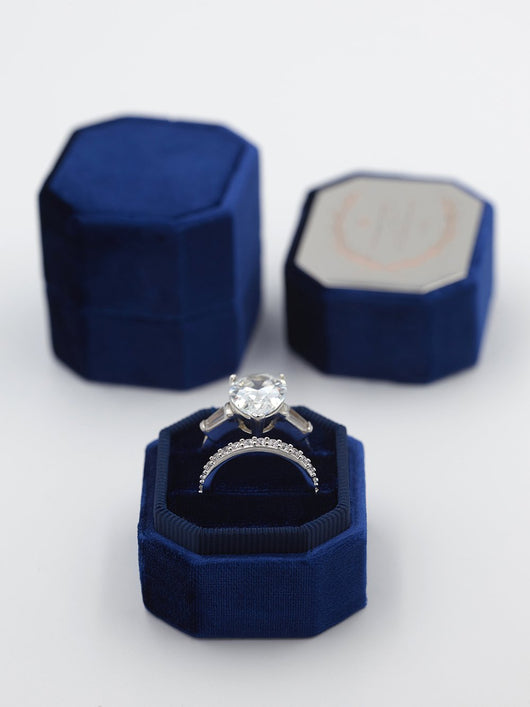 Deep bright blue velvet ring box metal engraving top