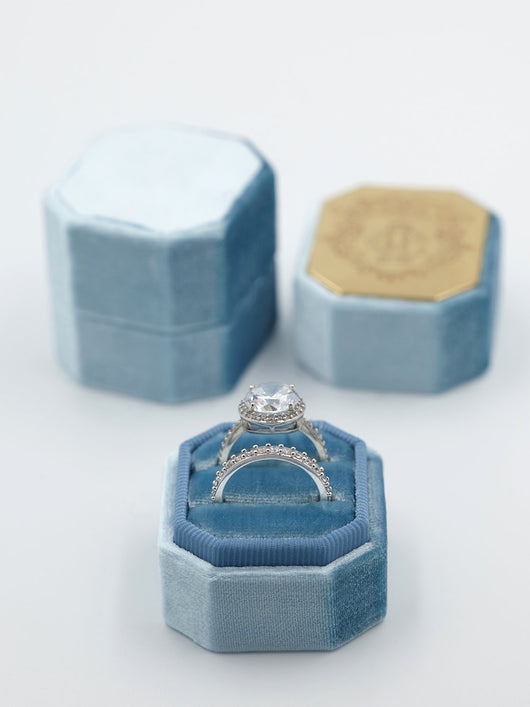 Sky Blue velvet octagon ring box metal top engraving