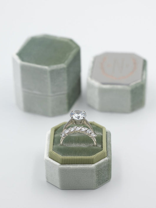 sage green octagon velvet ring box