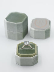 Sage green bevel velvet ring box metal engraving top
