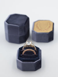 deep cobalt velvet octagon ring box