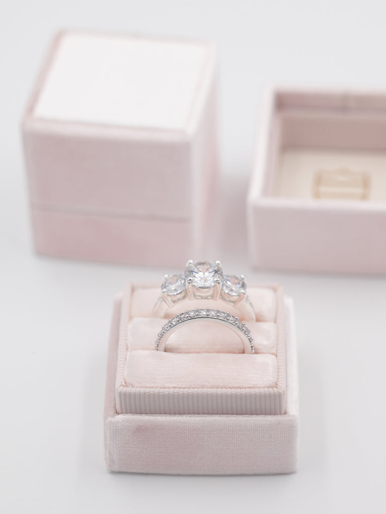 blush pink wedding engagement ring box wedding band