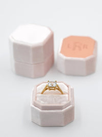 blush velvet octagon ring box