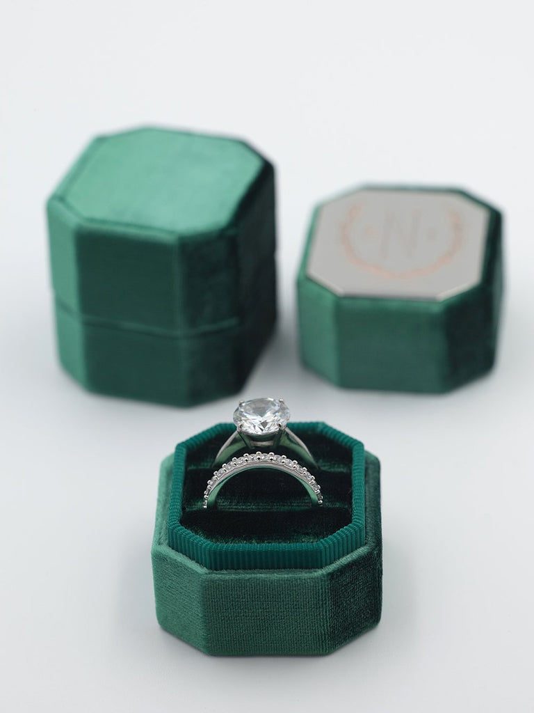 emerald green velvet octagon ring box metal top custom