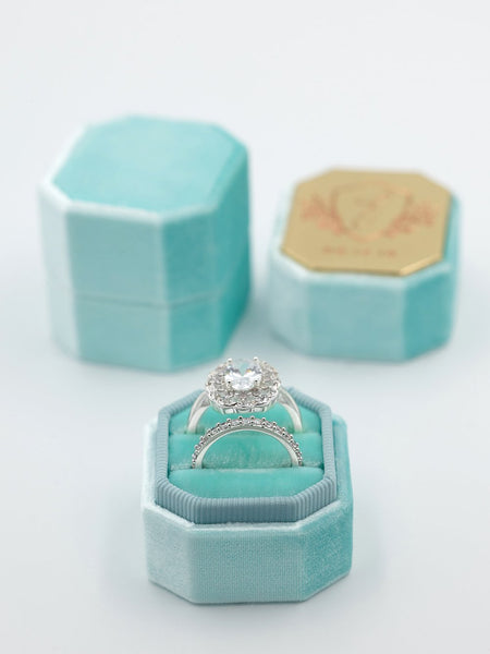 bright teal blue octagon velvet bevel box