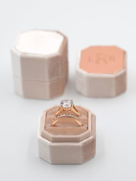 natural nude pink cream velvet ring box octagon metal top