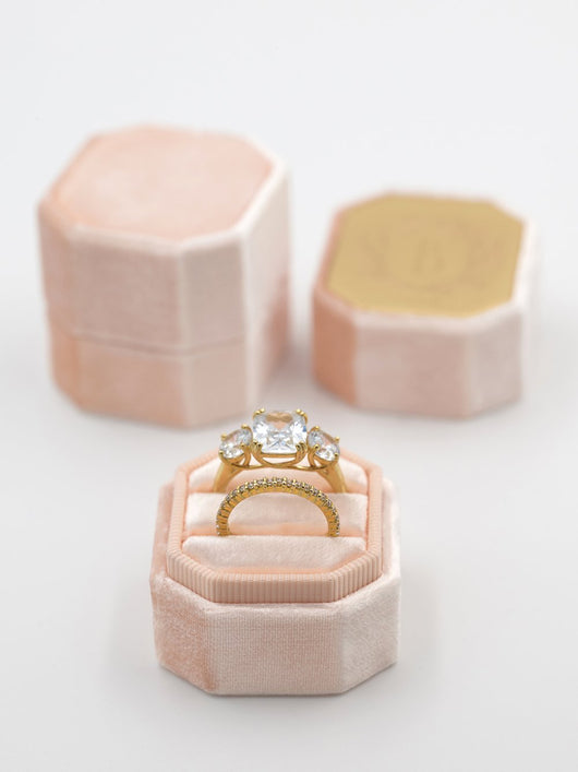 Light peach velvet ring box metal top