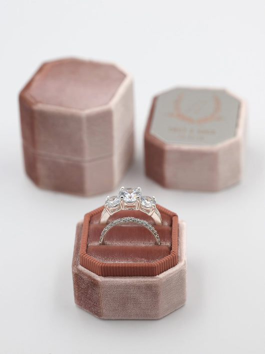 rose gold velvet ring box octagon bevel metal top