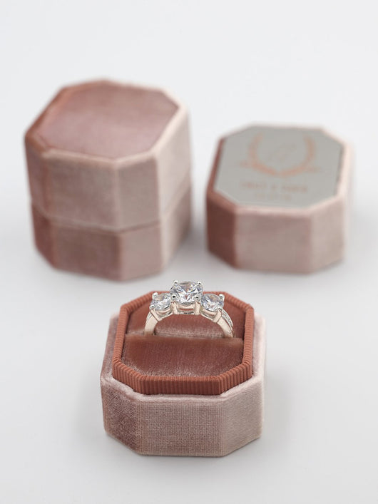 rose gold engraving metal top bevel ring box