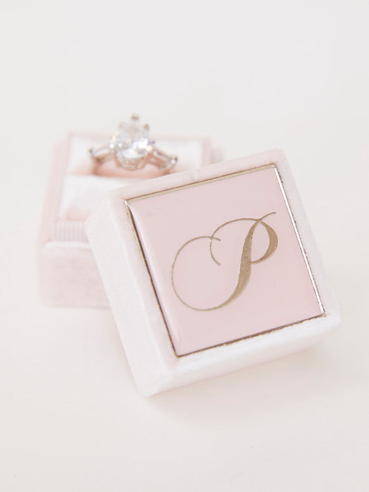 blush velvet ring box