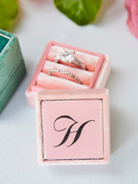 pink velvet ouble ring monogram box