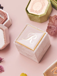 blush pink velvet monogram box