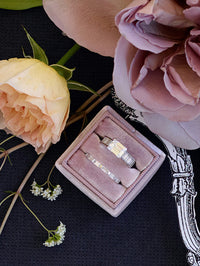 mauve velvet wedding ring box gift idea