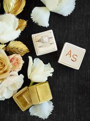 cream velvet gold monogram ring box gift