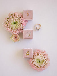 milennial pink blush mauve monogram gold silver ring box